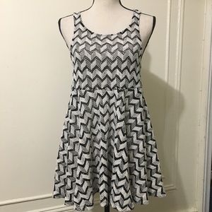Free People Black and White Mesh Dress
